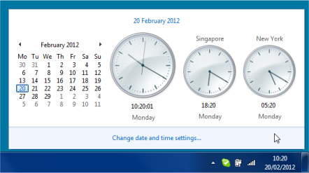 Showing World City Times In Windows 7