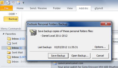how to take backup of outlook 2010