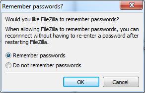 filezilla remember password